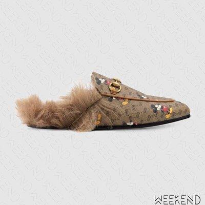 【WEEKEND】 GUCCI x DISNEY Princetown GG 刷毛 拖鞋 涼鞋 棕色 603467