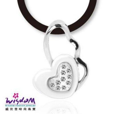 威世登 愛心白陶瓷鋯石 925銀墬-送禮、情人禮、生日禮、流行款、熱銷款-SD00111-AIXX
