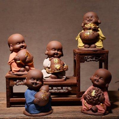擺設裝飾中式禪意可愛小和尚五福陶瓷家居博古架客廳家庭裝飾品工