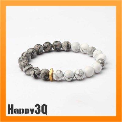 百搭潮流自然大理石紋石材白松石鈦鋼串珠珠子手環手鍊-多尺寸【AAA1807】預購
