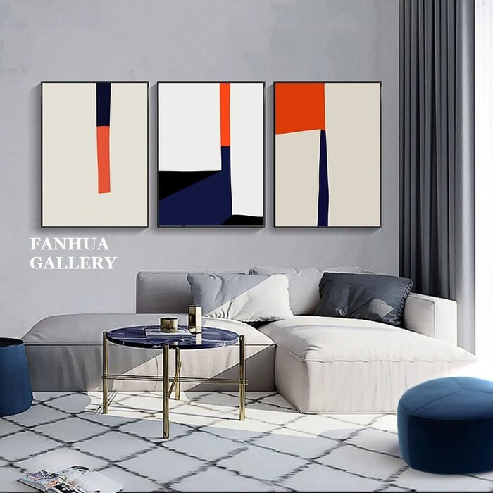 C - R - A - Z - Y - T - O - W - N 極簡幾何色塊抽象掛畫紅藍黑白裝飾畫玄關藝術三聯畫