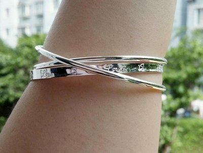 嗨,寶貝銀飾珠寶* 925純銀☆999純銀 Love 三連環 實心純銀手環 手鐲