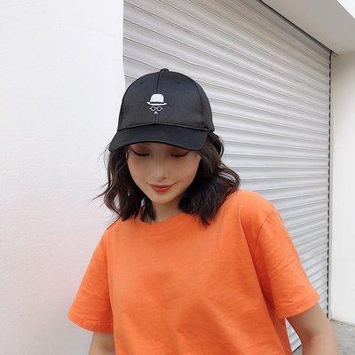 帽子女韓版潮時尚新款刺繡人像棒球帽休閑百搭黑色學生鴨舌帽夏天