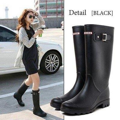 哆啦本鋪 韓版雨鞋女士夏季雨靴大人高筒防滑水靴長筒水鞋黑色防水膠鞋 D655