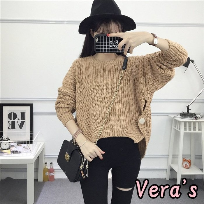 【V1712009】(預購)現貨咖1,韓版粗毛線復古寬鬆套頭毛衣長袖針織衫