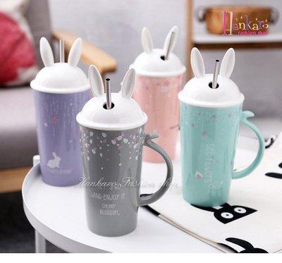 ☆[Hankaro]☆ 可愛兔子造型陶瓷吸管杯