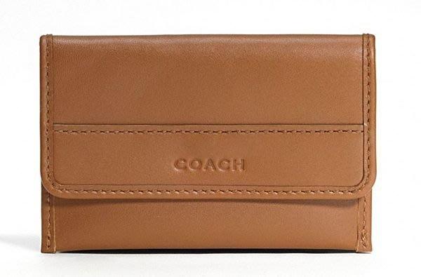 破盤清倉大降價!全新 COACH MEN 經典咖啡色皮革信用卡夾名片夾,低價起標無底價!本商品免運費!
