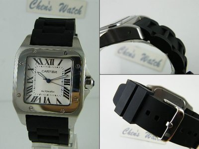 錶帶屋 『替代方案』卡地亞 Cartier 山度士 Santos 100 男錶進口高級矽膠錶帶 現貨