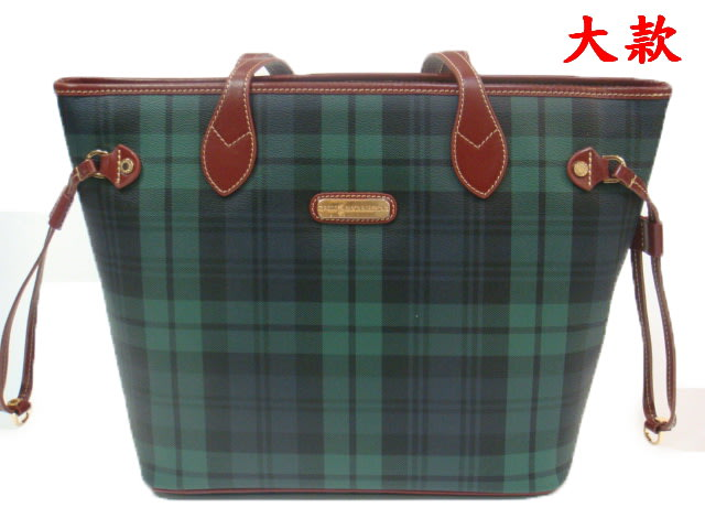 【菲歐娜】5151-(特價拍品)英國保羅 POLO 綠色格紋側背托特包(大)11PL-298