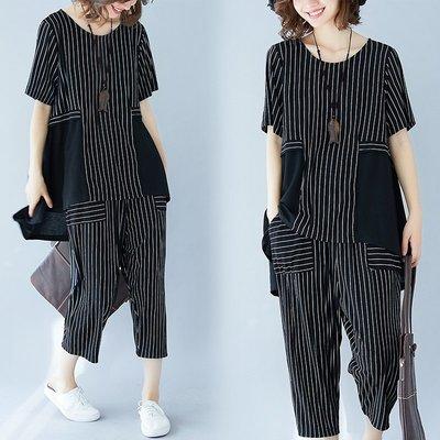 夏季新款時尚胖mm寬松大碼女裝條紋拼接短袖上衣七分闊腿褲兩件套