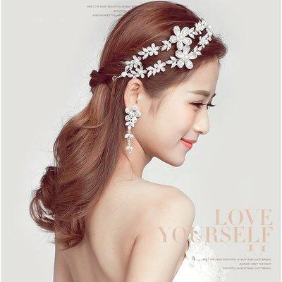 5Cgo~鴿樓~會員有 540465090139 雙生花新娘頭飾韓式花朵發飾婚紗配飾婚禮結
