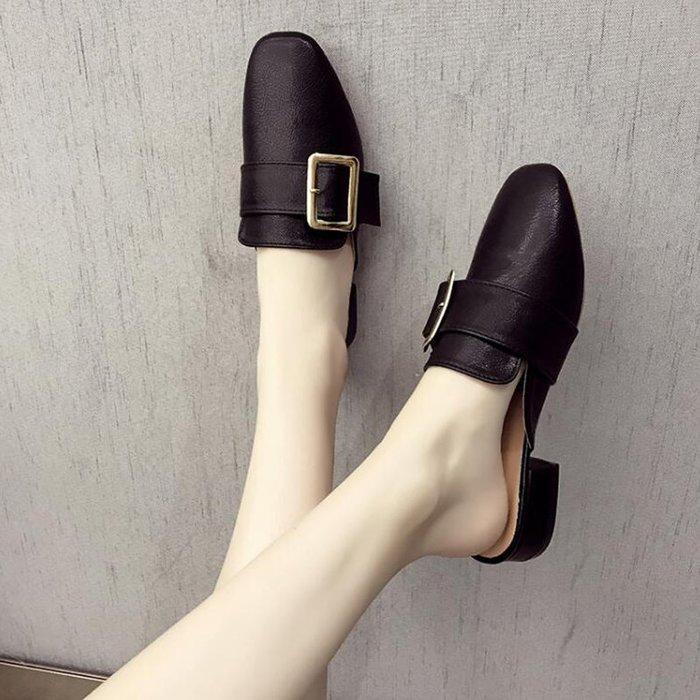 創意 氣質包頭半拖奶奶鞋女春夏新款方頭女士網紅穆勒鞋粗跟涼拖外出穿