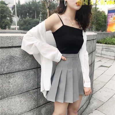 南國女人街WM時尚套裝女春季新款修身小吊帶寬松白色長袖襯衫百褶半身裙兩件套