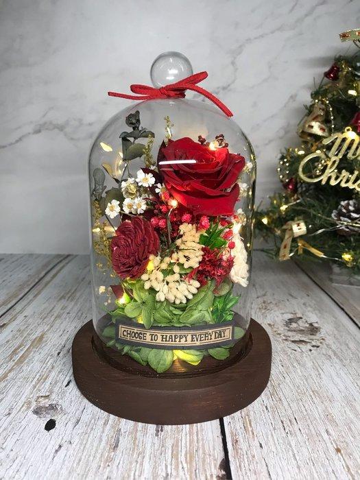 美女與野獸玻璃燈罩 情人節 小夜燈 永生花 乾燥花 永生玫瑰 乾燥玫瑰 聖誕節 生日禮物 交換禮物