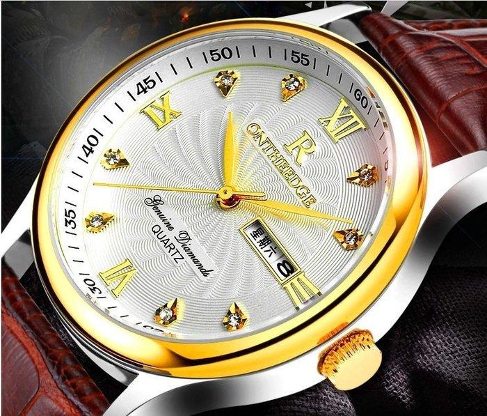 防水商務真皮帶石英女錶男士腕表情侶學生男女士男錶 手錶