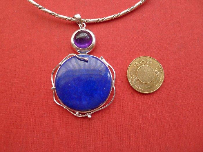 銀工坊  單一價】925純銀天然青金石紫水晶銀墜~~給第一標
