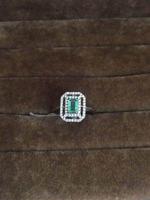 (JA1036)天然祖母綠寶石 925銀戒台 女戒