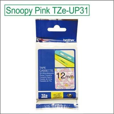 Brother TZe-UP31,12mm粉紅色底黑字,Snoopy卡通標籤帶,PT-D200RK,PT-D200SN