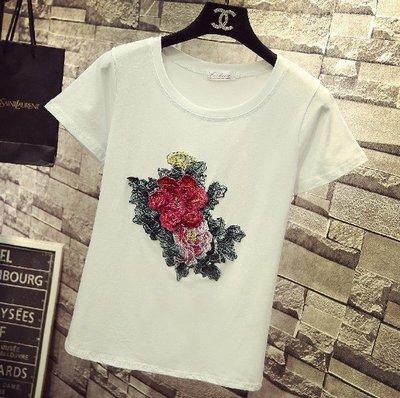 【An Ju Shop】外單 韓國風 夏款 時尚刺繡牡丹女短袖修身顯瘦T恤潮款上衣~OB214812