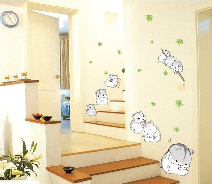 可愛 小倉鼠 金錢鼠 招財鼠 可撕 可重覆貼 窗貼 壁貼 ~ 萬能百貨