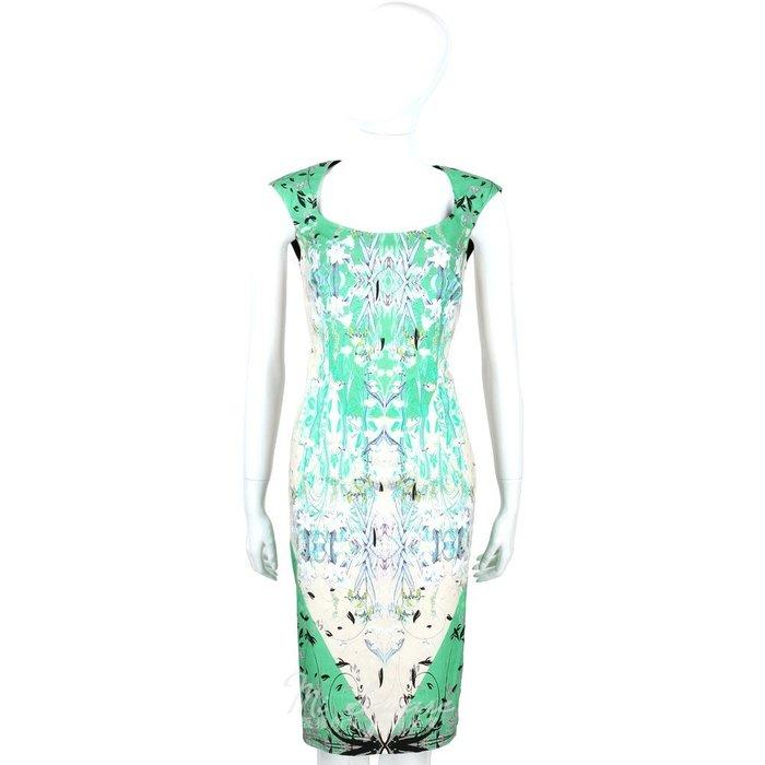 米蘭廣場 CLASS roberto cavalli 水綠色漸層印花短袖洋裝 1520565-08