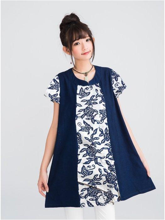 !中國藍Anewei藍染小白蝶假兩件長衫/上衣SM萊爾富運費半價