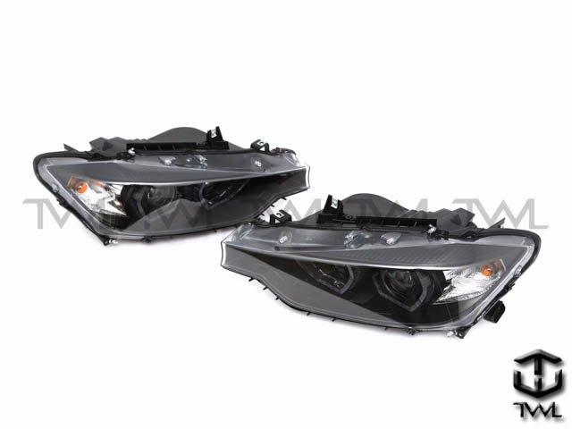 《※台灣之光※》全新BMW F30 12 13 14 15 16年美規328I鹵素升級黑底LED雙光版魚眼光圈投射大燈組