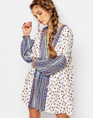 Free People Rain Or Shine Printed Dress - Ivory / S 現貨在台