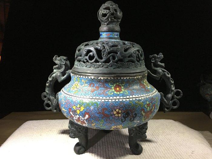 早期收藏古早文物-景泰藍-雙耳貔貅天球三足鼎淨香爐
