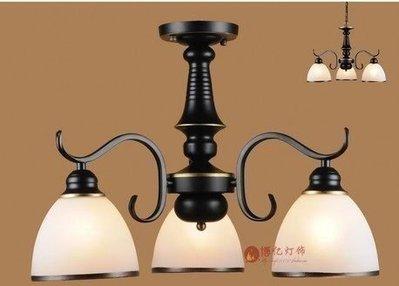 {美學}過道陽台餐廳臥室書房歐式鐵藝簡約美式三頭吸頂吊燈飾具MX-2096
