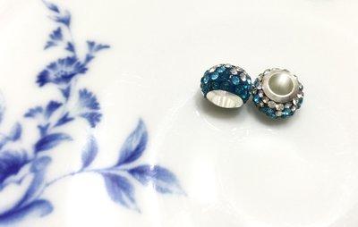 晶御飾品  潘朵拉類似款~銅鍍銀奧地利水晶串珠墜飾穿珠散珠~漸層藍綠