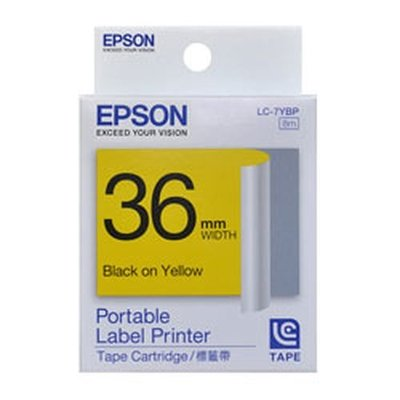 [哈GAME族]愛普生 EPSON 標籤機色帶 LC-7YBP 黃底黑字 36mm LW-900適用