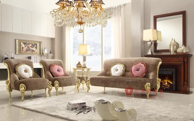[紅蘋果傢俱] 2055 新古典 沙發椅  休閒椅 布沙發 穿鞋凳 椅子 洽談椅 沙發組 金箔 銀箔