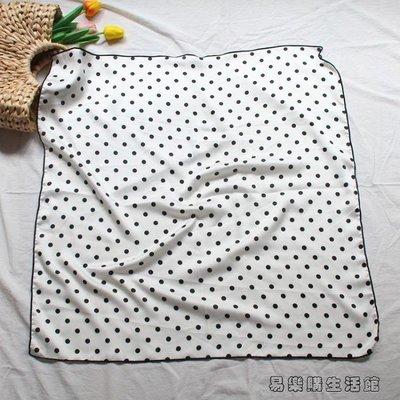 韓國復古波點小絲巾春秋女款可愛黑白墨綠方巾百搭裝飾圍巾頭巾YLG137