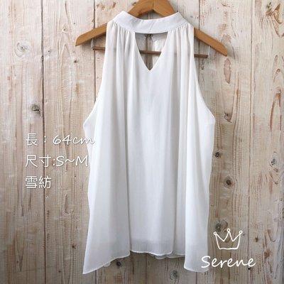 [正韓高單特賣]全新削肩氣質雪紡散版上衣