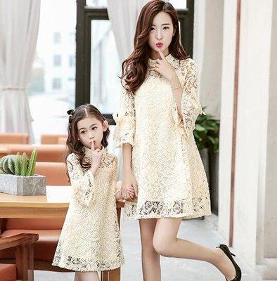 親子裝 潮韓版蕾絲喇叭袖女童公主裙 母女裝 長袖連身裙 蕾絲連身裙 洋裝 莎芭