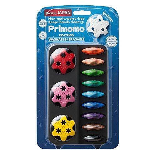 【三元】日本製 Primomo 普麗貓 無毒蠟筆12色 花形 幼兒蠟筆 安全無毒 花型 (附花形橡皮擦)