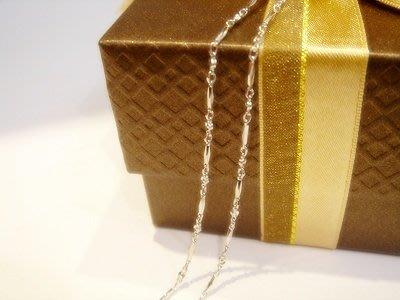 585白K金項鍊-~台灣K金鍊~可搭配各式鑽石 珍珠 玉 墬子 皆可--扁珠節鍊子A0B95