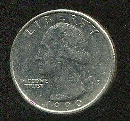 United States(美國25分硬幣),25-CENT,1990P ,品相美VF