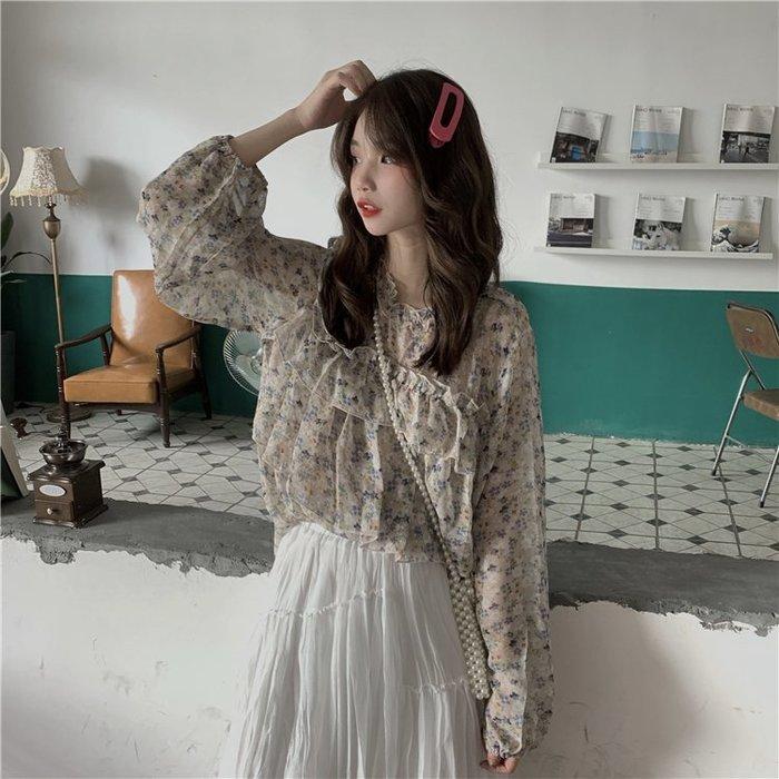 短袖雪紡衫 甜美 小香風 溫柔風寬松薄款微透甜美荷葉邊長袖防曬雪紡襯衫女裝