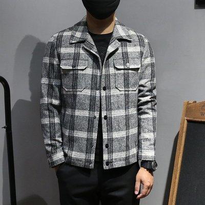 【時尚先生男裝】新品毛呢短外套男裝格子翻領夾克花色歐美風潮款單排扣格紋外套男 NO:590