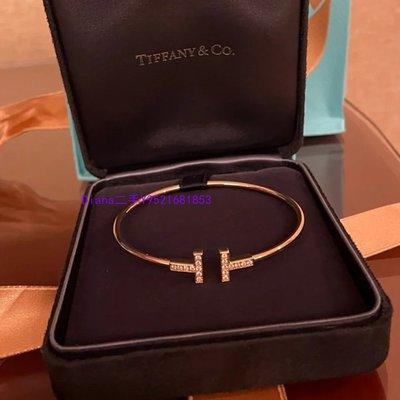 流當奢品 Tiffany蒂芙尼 T系列T1 鑲鉆線圈手鐲 18K玫瑰金手環 GRP07785 現貨