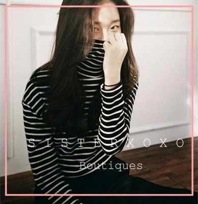 Sis KOREA style 簡約韓國chic  條紋高領長袖T恤 氣質修身打底衫