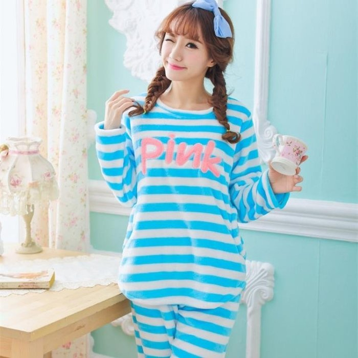 家居服 秋冬新款女士法蘭絨睡衣加絨加厚柔軟條紋甜美長款休閒套裝 js14666