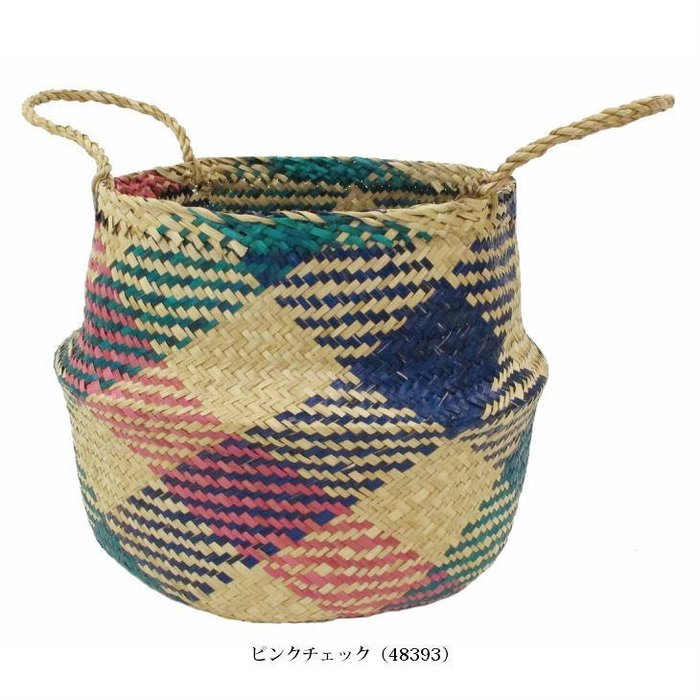 《齊洛瓦鄉村風雜貨》日本zakka 手工水草編織收納籃 花器 兩用收納籃(中)