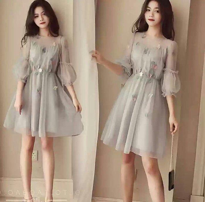 韓版 蕾絲 洋裝 五分袖 連身裙 泡泡袖 雪紡 禮服 繡花 小清新 大尺碼可 Me Gusta