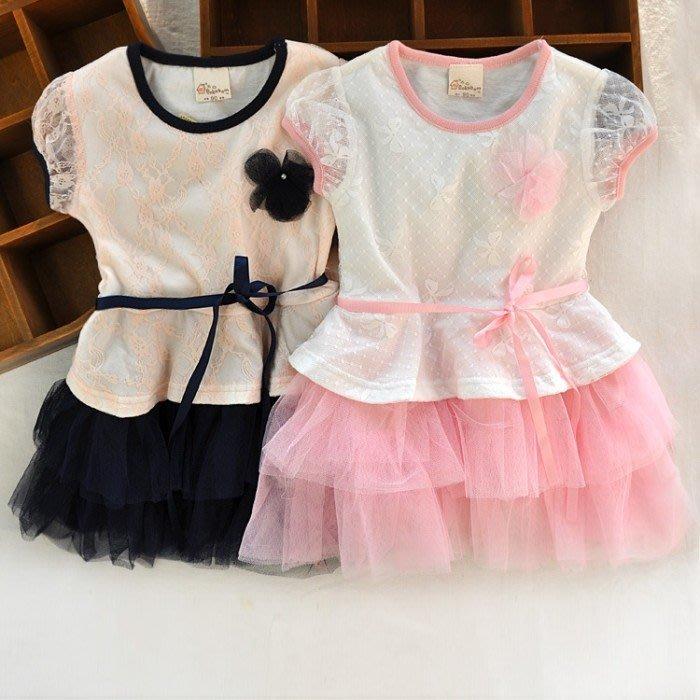韓版《花朵蕾絲袖》甜美短袖洋裝 (J2-2)