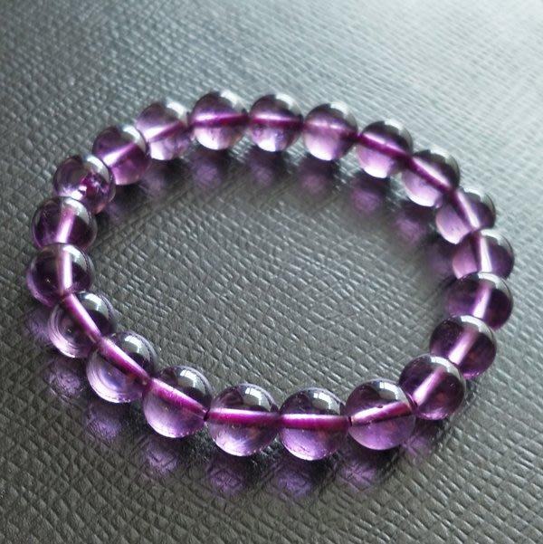 ☆采鑫天然寶石☆** 清靈智美** 頂級天然紫水晶手鍊~晶亮放光圓珠款~9mm
