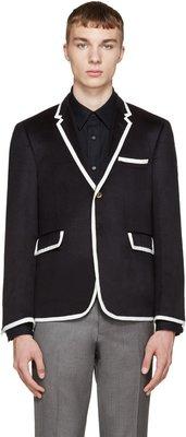 [ 羅崴森林 ] 現貨THOM BROWNE新品Cashmere Blazer湯姆布朗海軍藍白羊絨西裝2