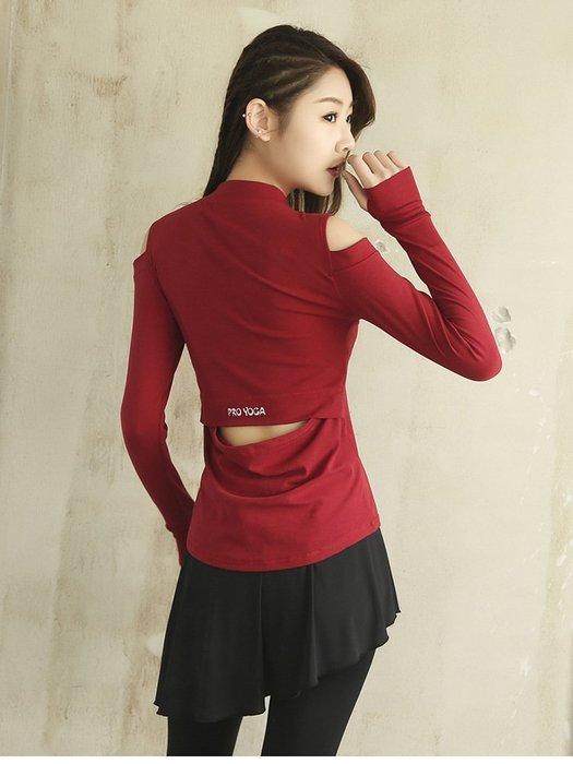 【Zoe Sport 柔依運動衣坊】女 長袖T恤 性感 露肩 修身 顯瘦 C37-CX440